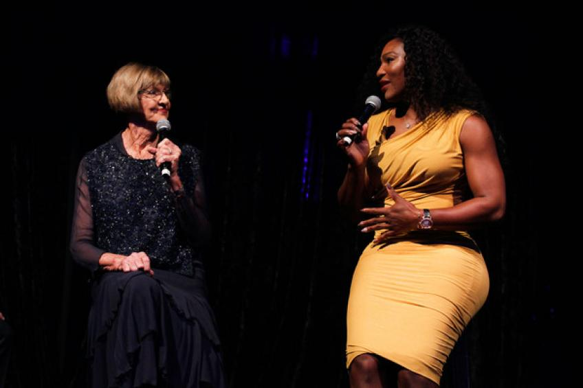 Margaret Court and Serena Williams discuss breaking a record of 24 grand slams.