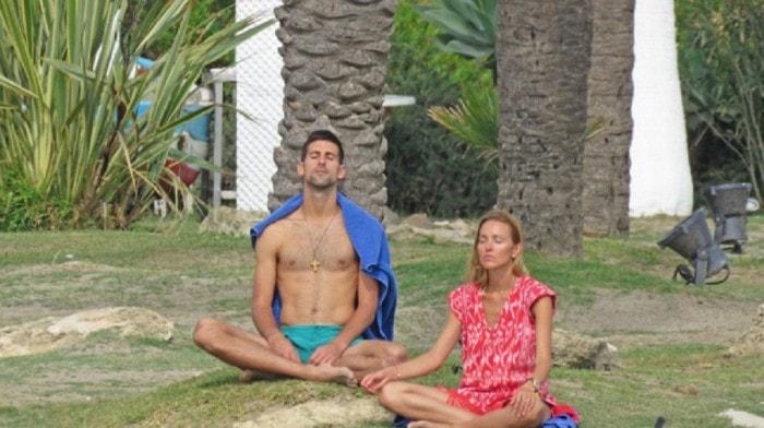Novak Djokovic and wife Jelena meditating together