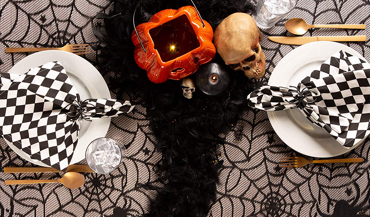 halloween table cover and decor