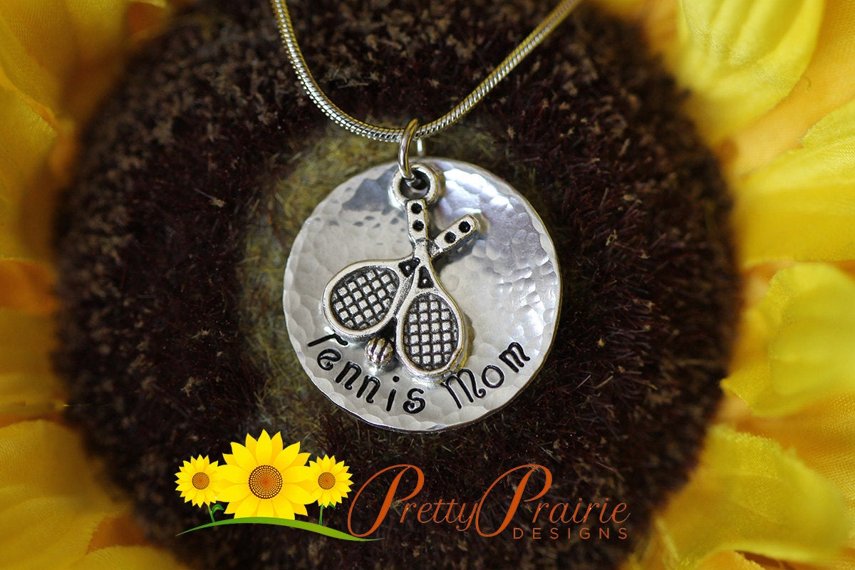 """""""Tennis Mom"""" sterling silver necklace"""
