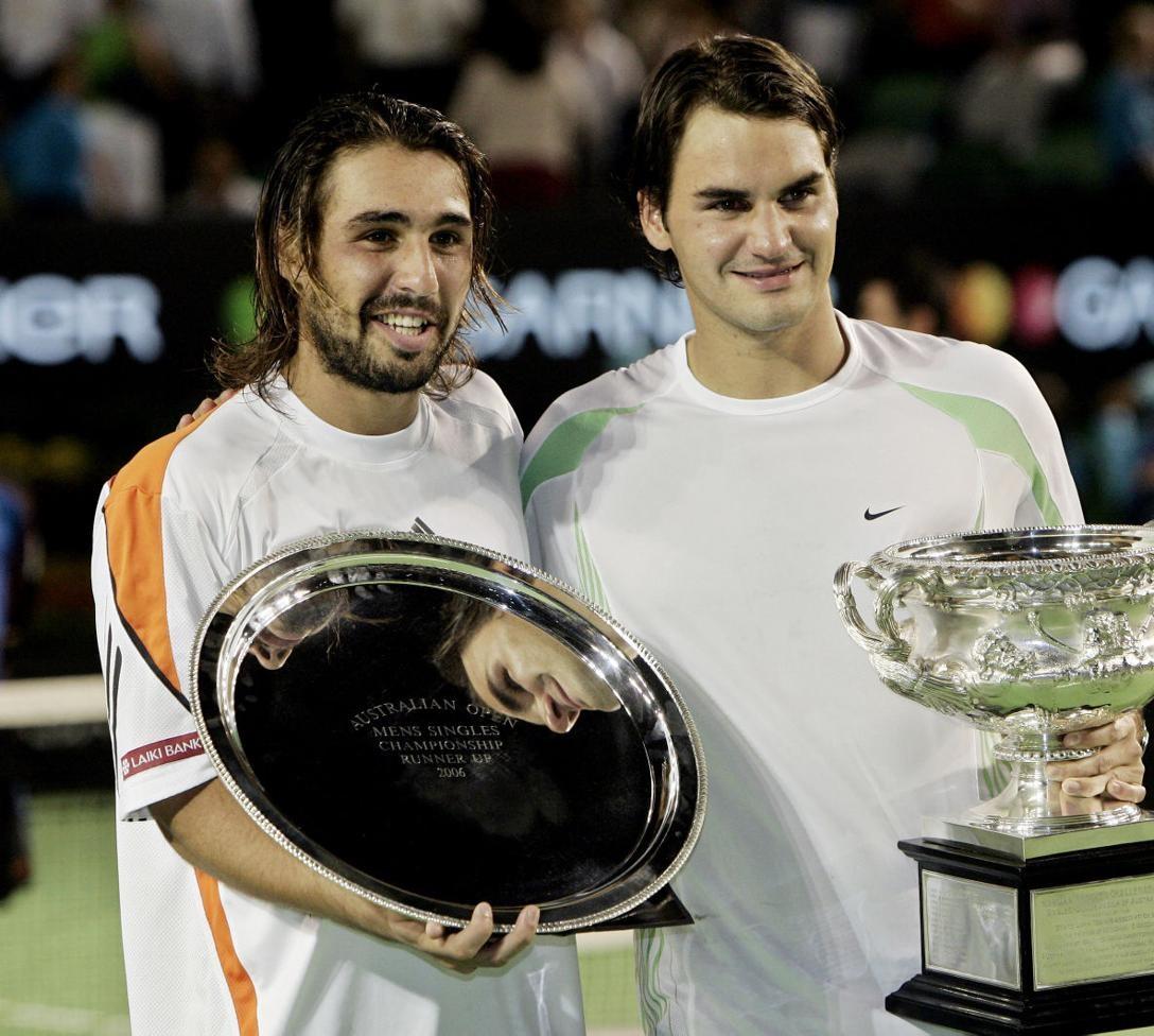 Marcos Baghdatis with Roger Federer